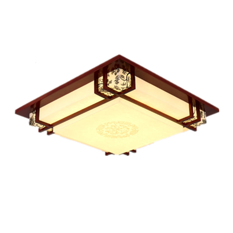Wooden LED ceiling lamp Chinese style square bedroom lamp solid wood sheepskin lamp study room ceiling lights ZA ZS29 chinese style wooden led circular ceiling lamps real wood art acrylic bedroom study decorated living room ceiling lights za zs45