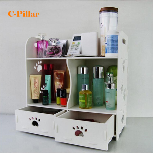 Cosmetic Organizer White Wood Makeup Storage Box Desktop Bathroom