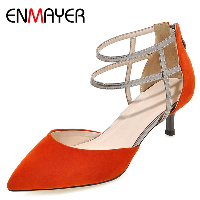 ENMAYERW Summer Women Casual Fashion Flock Sandals Pumps Shoes Pointed Toe Zip Thin Heels Large Size 34-43 Black Red Orange Gray new 2017 spring summer women shoes pointed toe high quality brand fashion womens flats ladies plus size 41 sweet flock t179