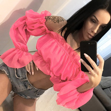 2019 new arrival sexy women crop tops slash neck Ruffle Butterfly full Sleeve t-shirt