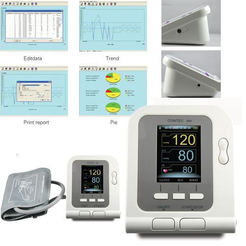 Contec08A Digital Blood Pressure Monitor Cuffs USB SpO2 Probe Pulse Rate Ox Oxi Meter Oximeter Oxymeter Patient Oxygen Sensor ems free ship contec08a digital infant use blood monitor cuff spo2 probe