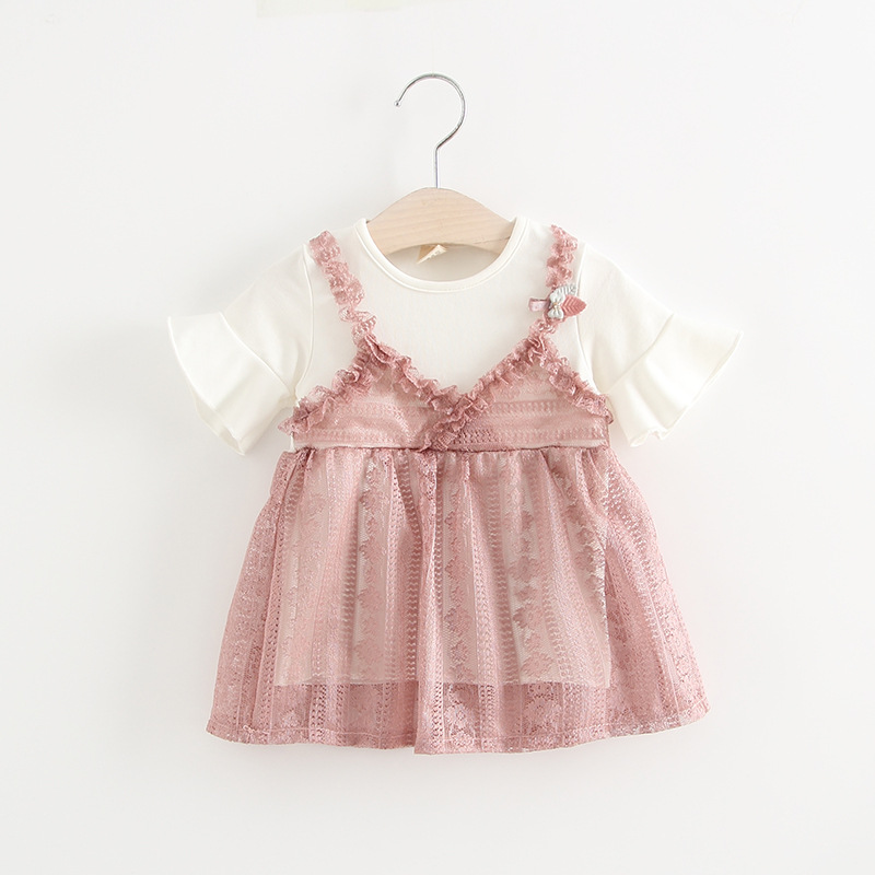 Summer Baby Girls Dress 2018 New Sweet Infant Girls Lace Dress Fake Two Pieces Short Sleeve Toddler Girl Dresses DQ888