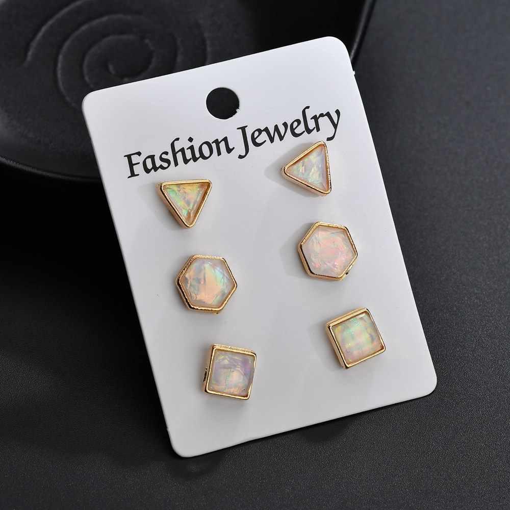 Stud Earrings Set Pearl Round Triangle Stud Earrings For Women Personalized Simple geometry ear nail suit