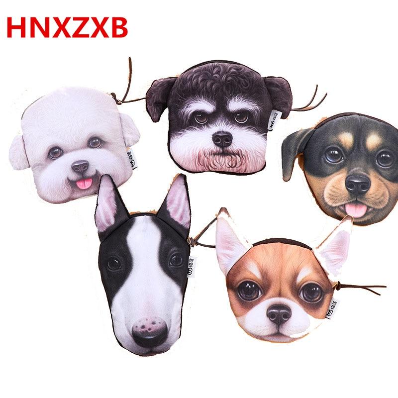 HNXZXB 3D girl wallet bag ladies face zipper mini cat coin purses dog childrens purse plush coins pouch monedero gato