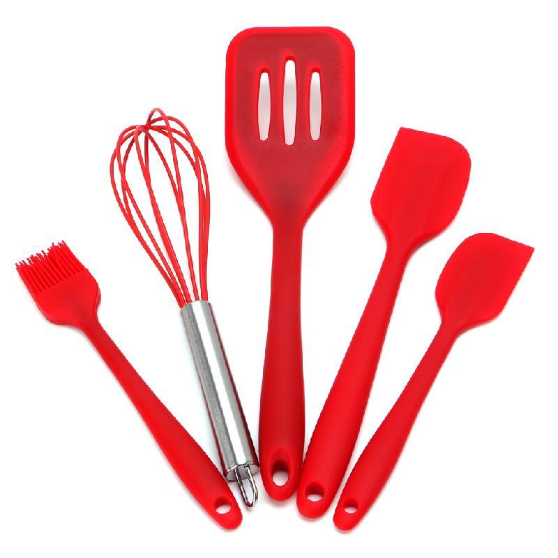 5Pcs Heat Resitant Silicone Kitchen Utensils Set Non-stick Cooking Bakeware Tool