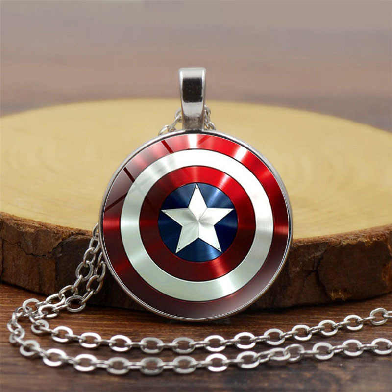 Captain America Shield Necklaces for Women Men Marvel The Avengers 4 Endgame Pendant Necklace Glass Dome Jewelry Accessories