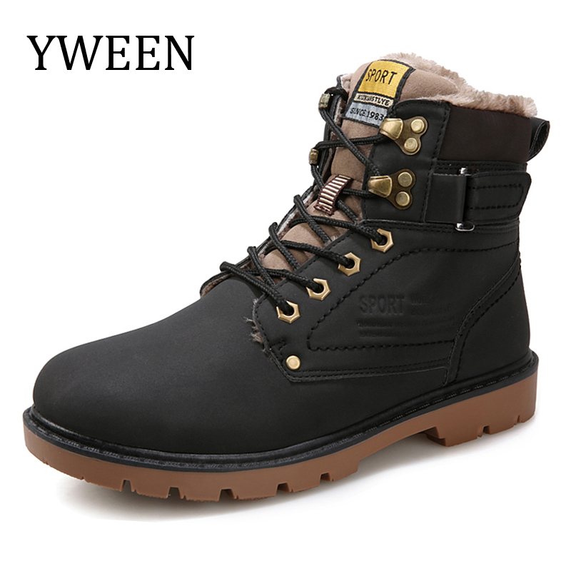 YWEEN Winter Men Boots Hot Sale Lace Up Solid Nubuck Leather Fashion Motorcycle Boot Outdoor Man