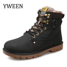 Yween Мужские зимние ботинки Лидер продаж Кружево вверх твердый нубук модные мотоботы открытый человек Повседневное Мартин обуви