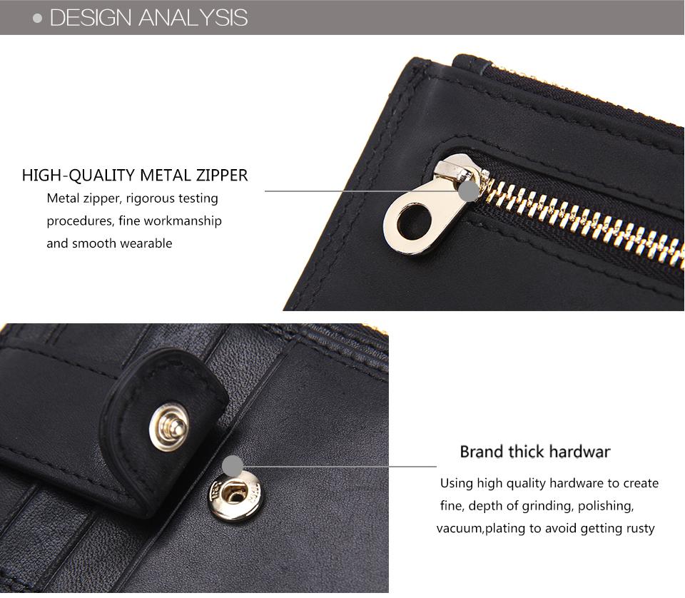 контакта тонкий кошелек на молнии и засов бренд дизайн пояса из натуральной кожи держатель для карт карман для монет двойного сложения мужской