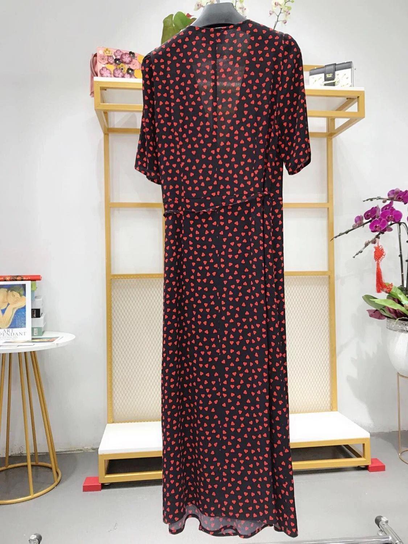 Vrouwen Jurk Gabin Rood Hart Print Wrap Jurk Korte Mouwen V hals Midi Dress Taille Knoppen-in Jurken van Dames Kleding op  Groep 2