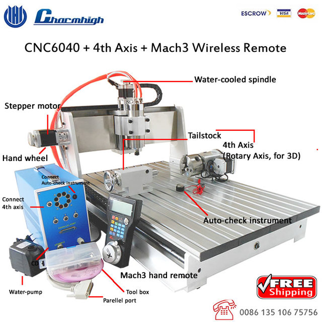 Free Shipping 4 Axis Desktop Cnc 6040 Mach3 Wireless Hand Remote Four Axis Cnc Engraving Milling Cutting Machine Cnc Router