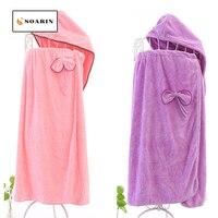 SOARIN Bath Towel Solid Microfibre Bathrobe Absorvente Summer Shower Hair Drying Cap Set Of Bath Towels Toalha De Banho Bathrobe