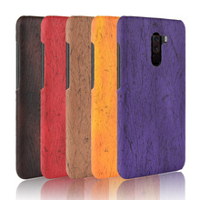 For Xiaomi Pocophone F1 Case Hard PC+PU Leather Retro wood grain Phone POCP Cover Luxury Wood