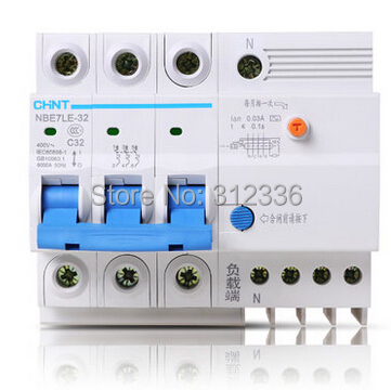 Free Shipping Two years Warranty LE C32 3P+N 32A 3 pole earth leakage ELCB RCD residual current circuit-breaker earth leakage 400 amp 3 pole cm1 type moulded case type circuit breaker mccb