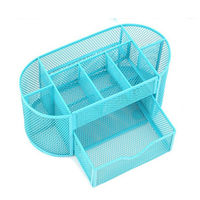 Multifunctional 9 Components Metal Table Storage Box Desktop Organizer With Drawers Sky Blue