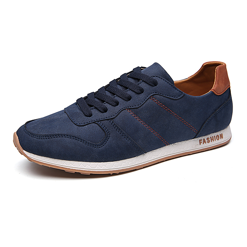 ФОТО High Quality Men Shoes Lace Up Designer Spring Autumn Fashion Men Casual Shoes Outdoor Male men walking shoes For Men Black Blue