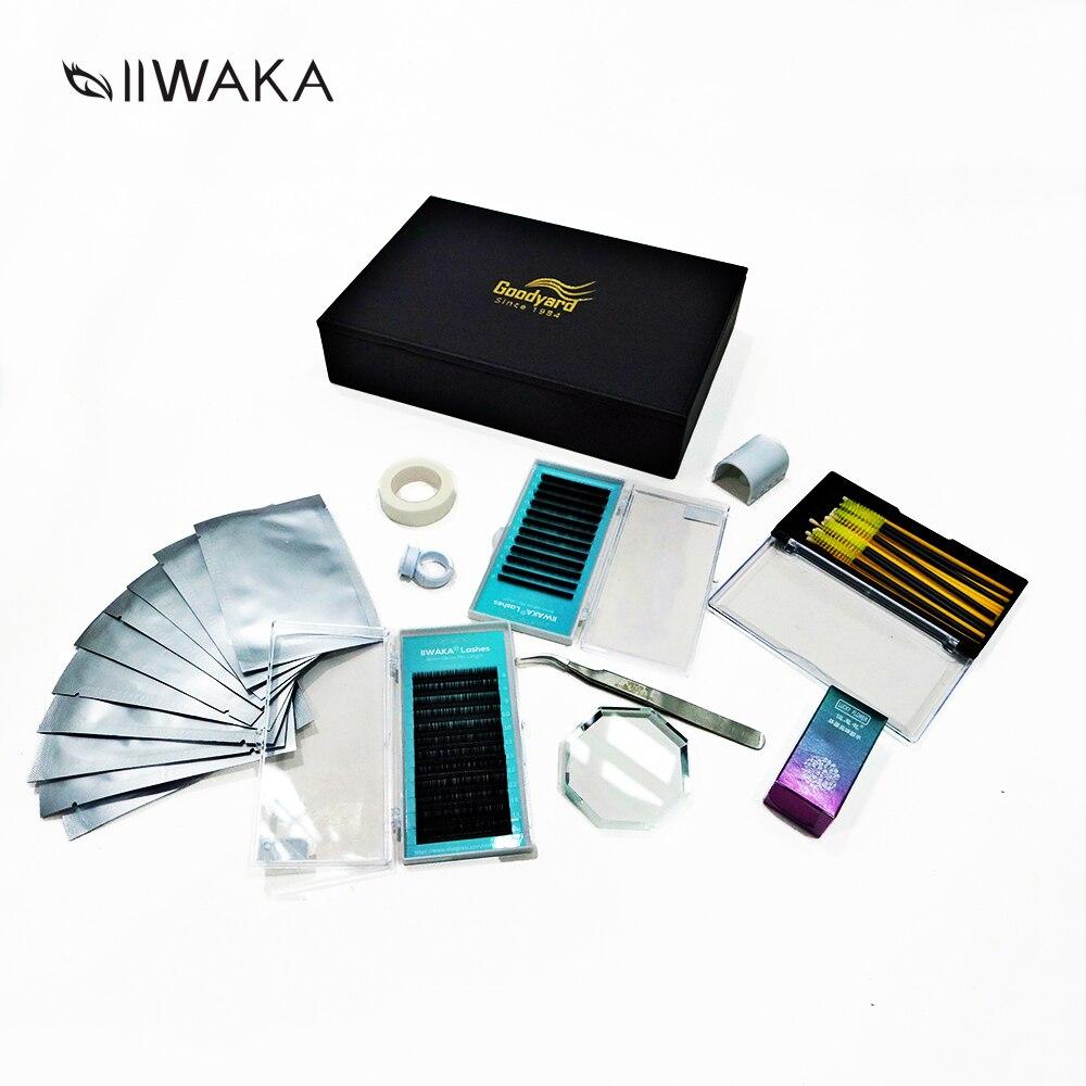 IIWAKA luxueux boîte à outils multi-usages en cuir pour cils avec miroir cosmétique, colle, coussinets pour les yeux, bandes, brosses à cils...