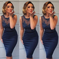 Dark Navy Sexy Mini Cocktail Dresses Sheath Knee Length Appliques Lace Beads Short Prom Party Gowns Robe De Cocktail Plus Size