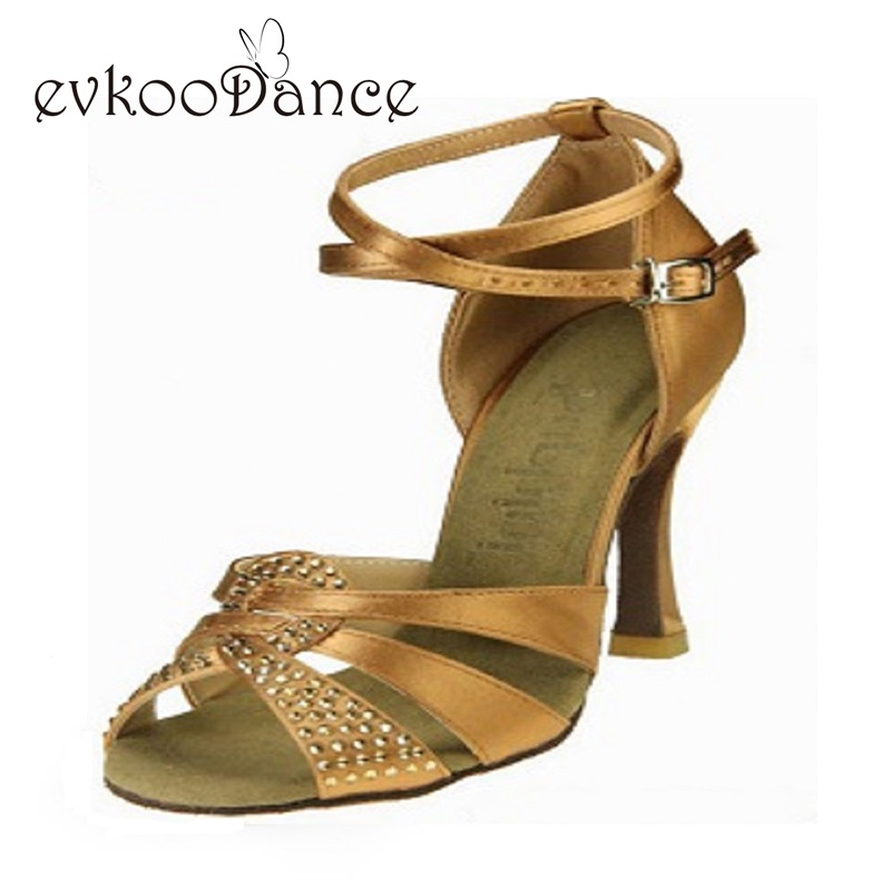 Menari kasut coklat atau hitam dengan berlian buatan ketinggian tumit 8cm saiz kami 4-12 wanita profesional menari kasut latin latin NL103