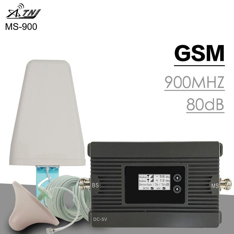 ATNJ GSM Repeater High Power 80dB Gain 2G Signal Amplifier GSM 900MHz Repetidor De Sinal De Celular Moblie Booster Antenna Set