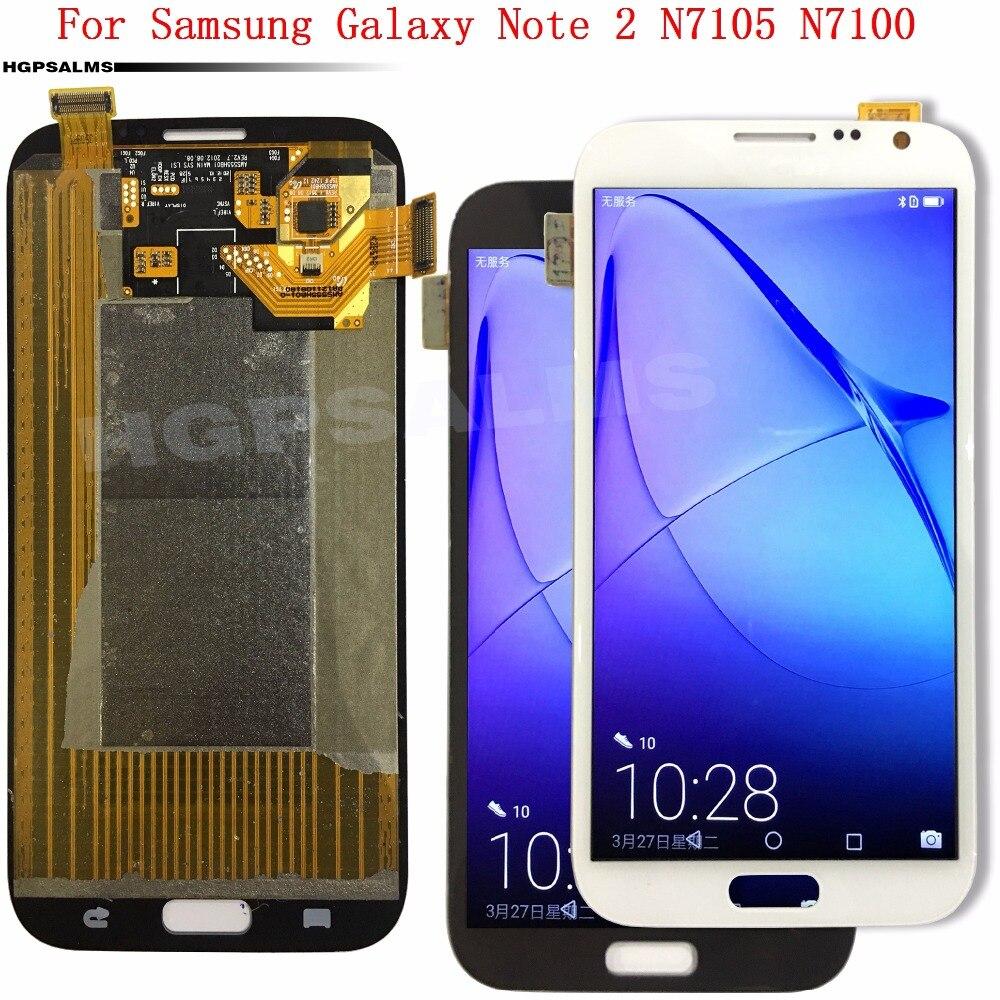 Pour Samsung Galaxy Note2 Note 2 N7105 N7100 Affichage à L'écran Tactile Digitizer Assemblée Réglable Luminosité