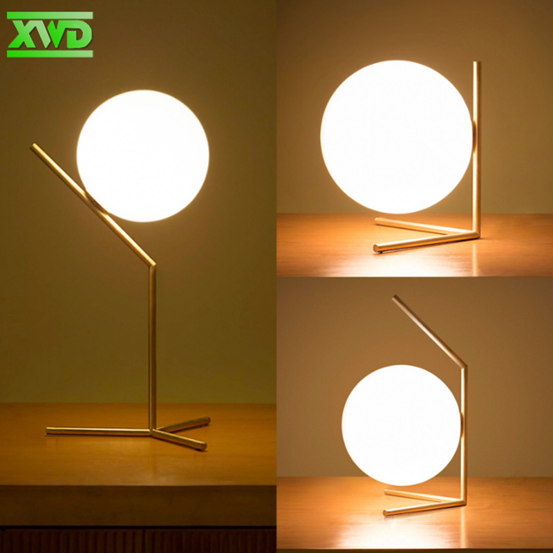 купить Modern Glass Ball Bedroom Bedside Lamp E27 Lamp Holder 110-240V Indoor Table Lamp Foyer Decorative Lights Free Shipping TV51 онлайн