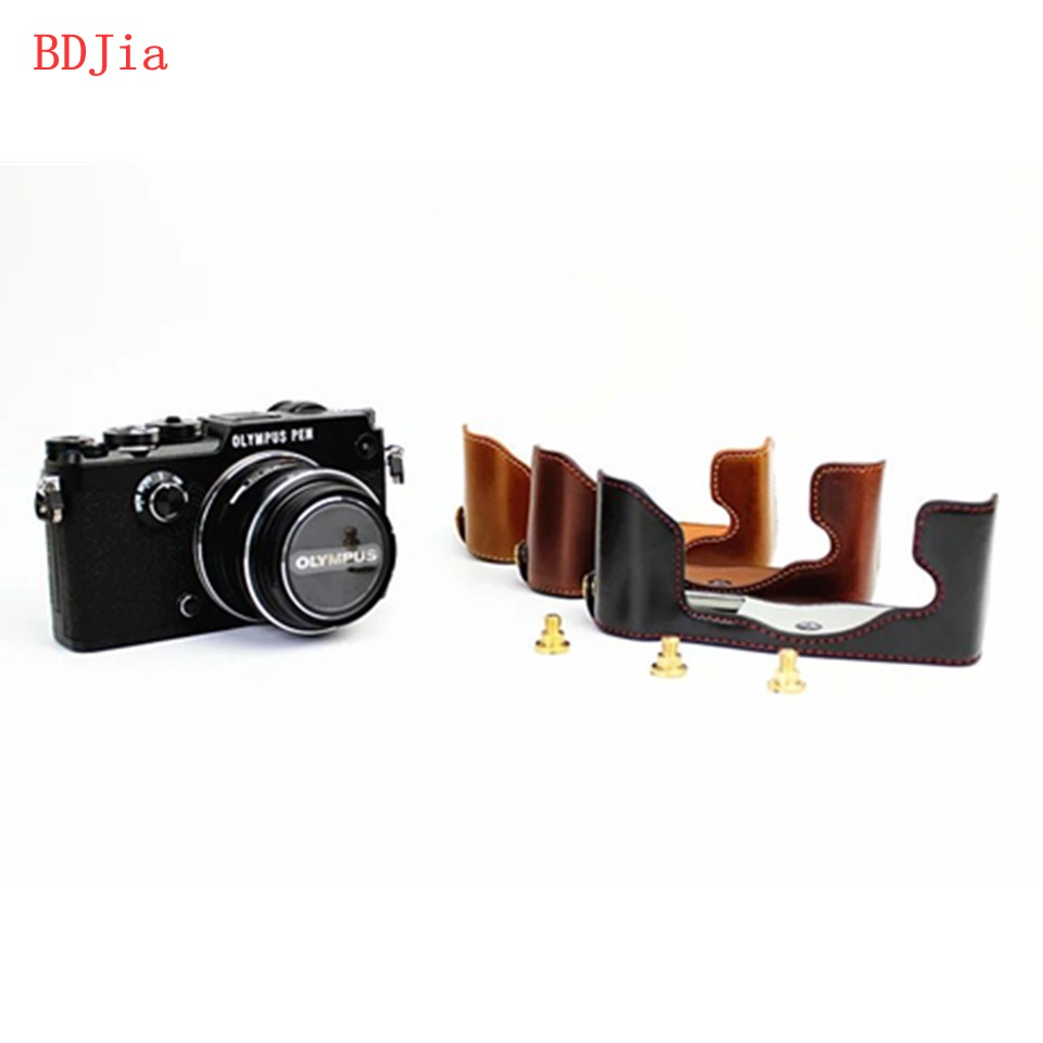 Newest Fashional Camera Bag Case For Olympus PEN F penf PU Leather Half Body Set Cover
