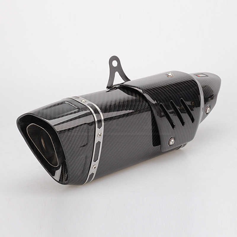 Универсальный мотоциклов углеродного волокна Выхлопной Трубы с теплозащитным экраном Moto Escape горшок глушитель для MT07 R1 R3 R6 CB1300 Z900 CBR1000RR