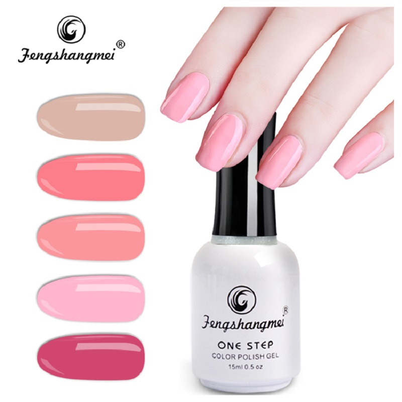 Fengshangmei 15ml 3 i 1 Gelpolska Manicure Gel Lacker Nail Art Design One Step Gel Nagellack