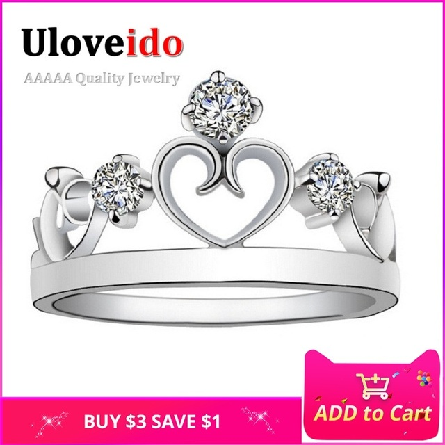 Uloveido One Piece Crown Rings for Women Cubic Zirconia Jewelry Ring Female Bijo