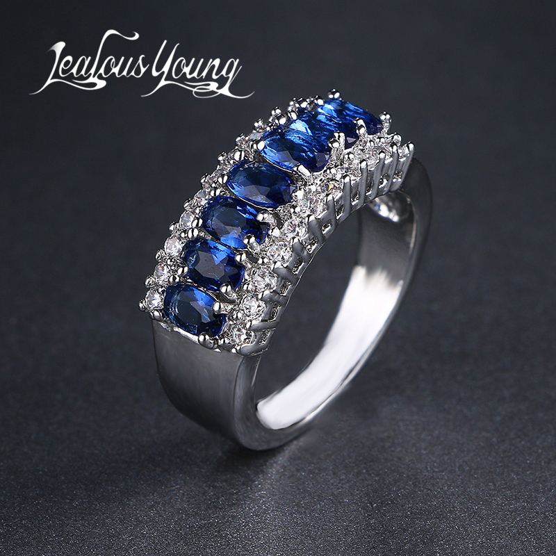 Exquisite Women Jewelry Round Cut White Blue Zirocn Wedding Rings Wholesale AR024