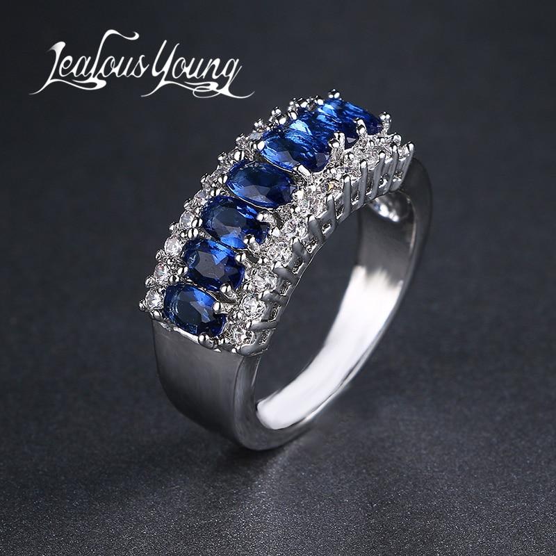 절묘한 여성 보석 라운드 컷 화이트 블루 지로 결혼 반지 도매 AR024