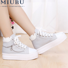 MIUBU Platform Wedge Increase Women Shoes Denim Solid Lace Sewing Fashion Zip Hard Wearing Superstar High Help