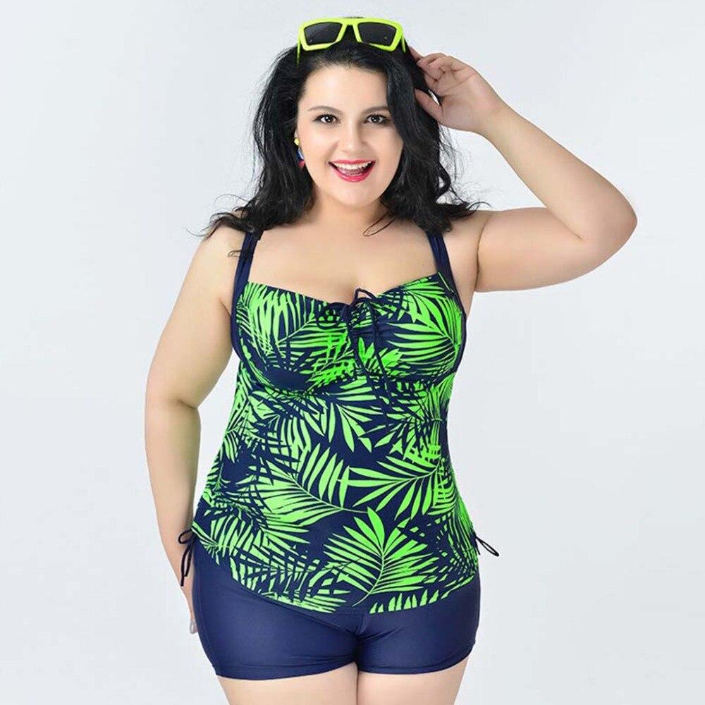 d5344bd907894 2018 Plus Size Swimwear Women Printed Swim Bathing Suits Tankinis Set for  Women Large Size Swimsuit 2XL-6XL