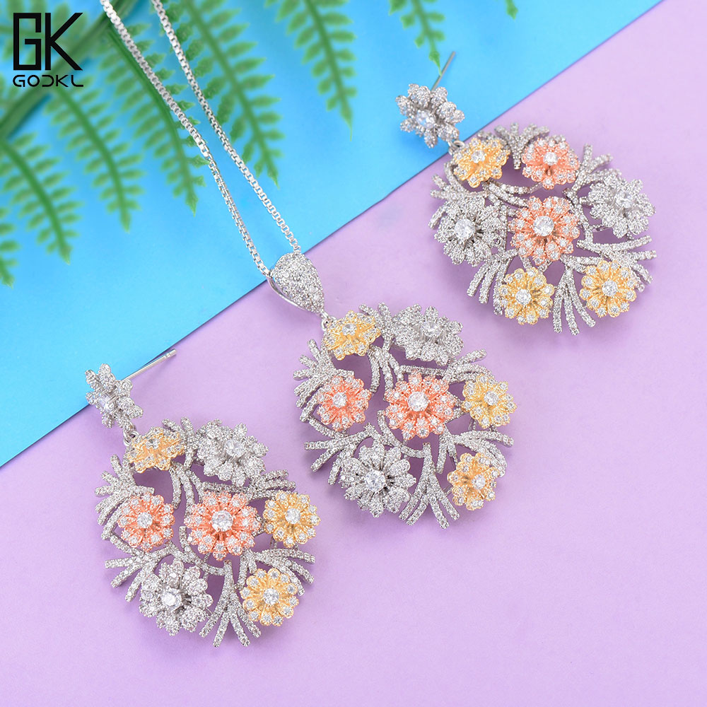 GODKI Luxury Flower Necklace Earring Sets Cubic Zircon Crystal CZ jewelry Sets for women Wedding Indian Bridal Jewelry Sets 2018GODKI Luxury Flower Necklace Earring Sets Cubic Zircon Crystal CZ jewelry Sets for women Wedding Indian Bridal Jewelry Sets 2018