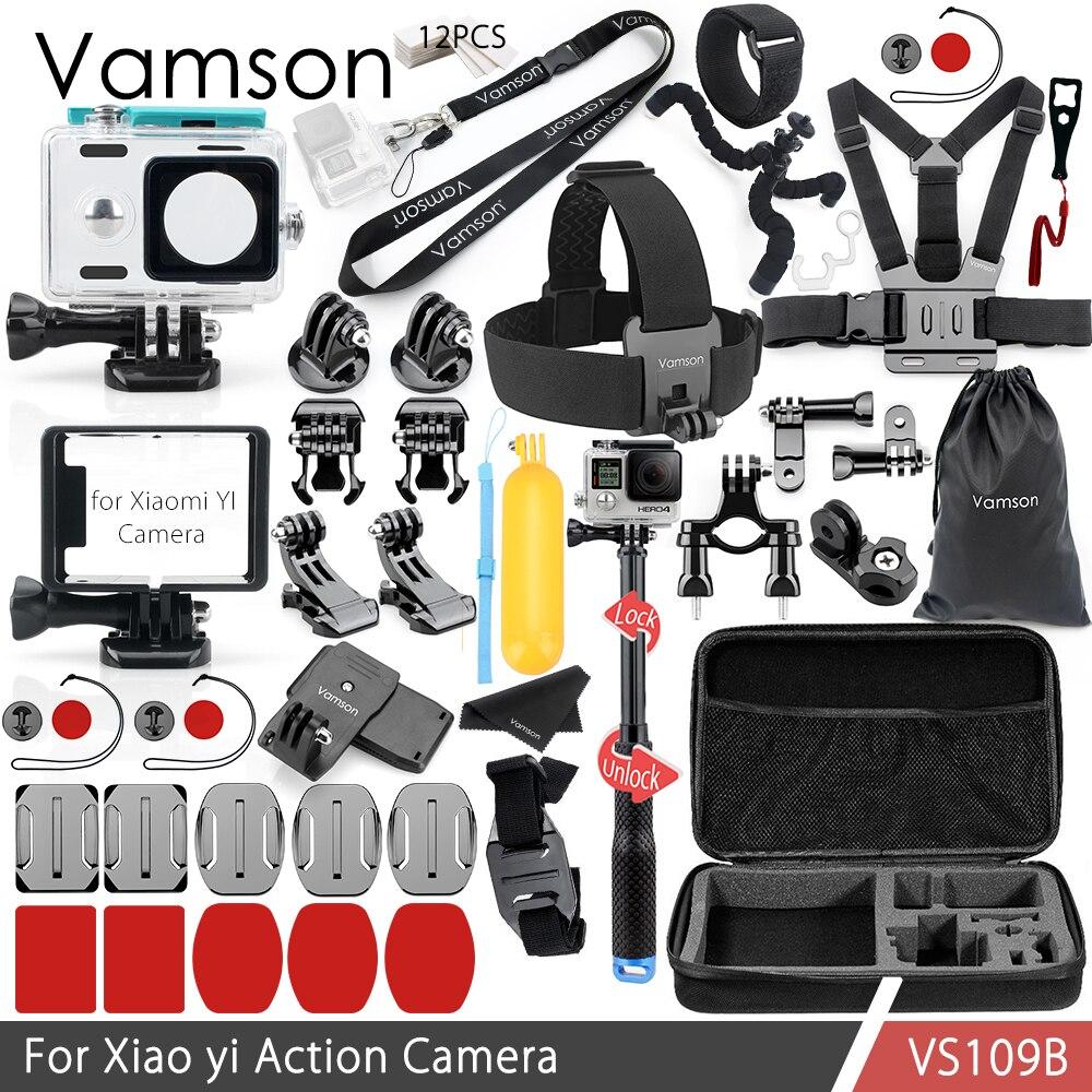 Vamson Sports Camera Accessories Kit Set for Xiaomi yi Standard Frame Waterproof Housing Case Box Adapter Selfie Stick Yi VS109B