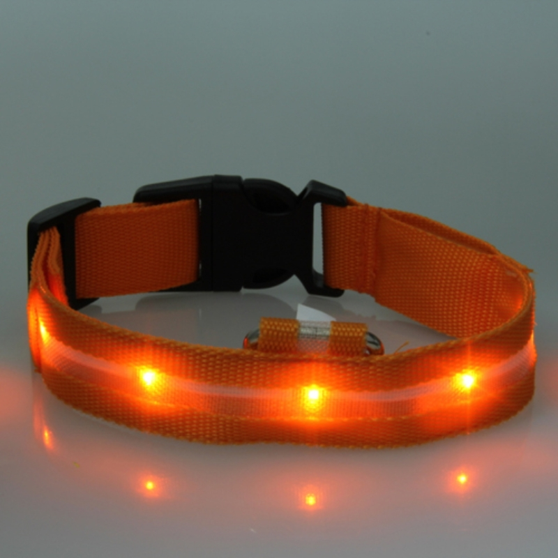 Safety Puppy Collars Solid Dog Collar Nylon LED Collar Light-up Flashing Glow LED Collars S M L XL Pet Products 2018