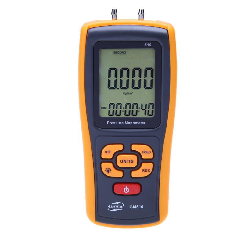 Digital Manometer GM510 +/- Differential 50KPa Portable Pressure Meter Gauge Handheld Pressure Meter with Data Cable benetech gm510 2 6 lcd handheld pressure manometer orange black 4 x aaa