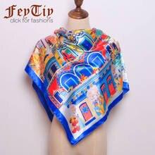 e776fe526c 2018 mode Hijab Schal Frauen Silk Satin Print Schal Schals Weibliche Luxus  Marke Schals Für Damen