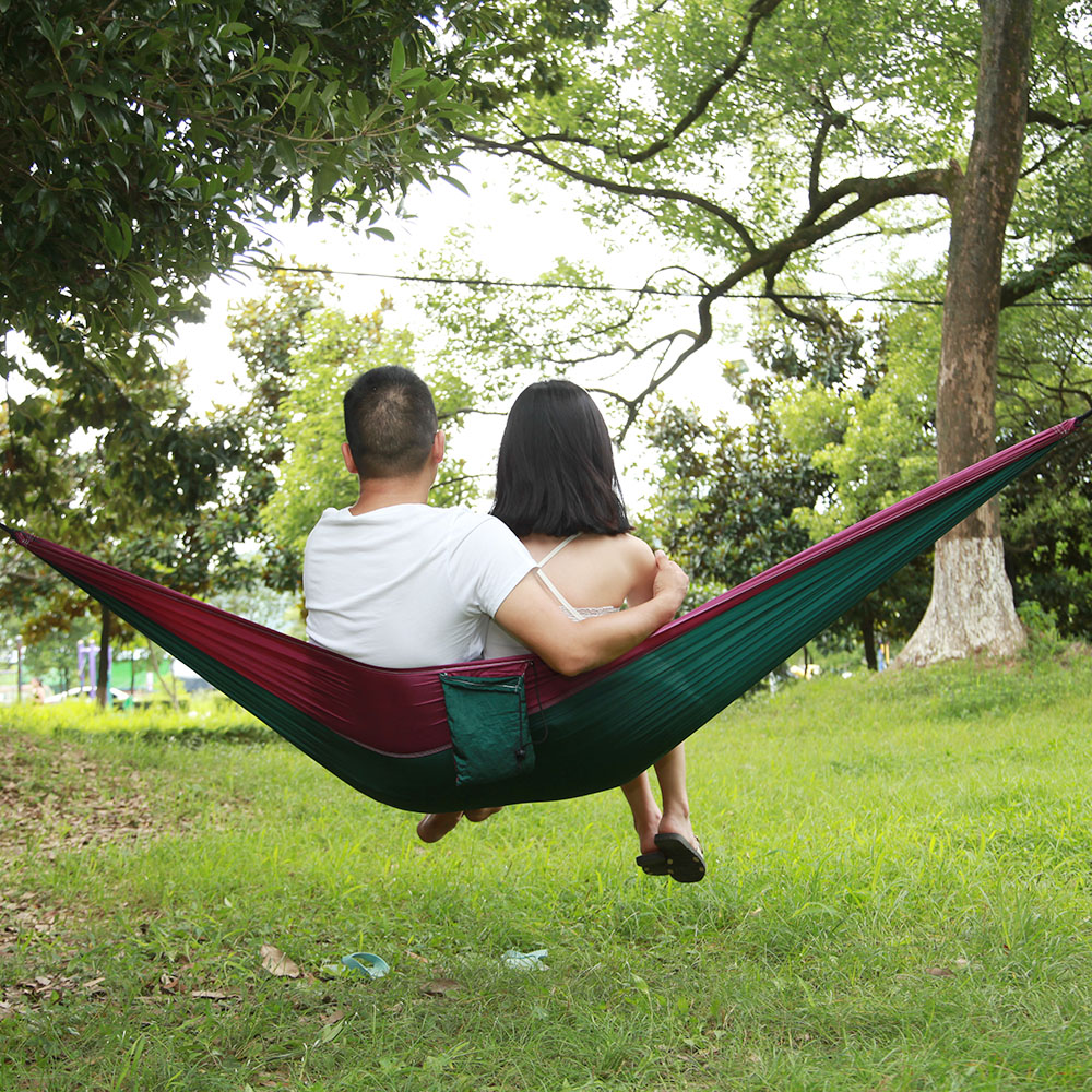 Image 4 - Outdoors Camping Hammock Hanging Swing Sleeping Bed Lightweight Portable Nylon Parachute Double Hammock for Backpacking Travel-in Outdoor Tools from Sports & Entertainment