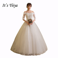 Free Shipping 2017 Plus Size Boat Neck Lace Full Sleeves Lace Bling Wedding Dresses Bride Ball