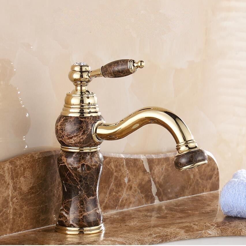 Hot Cold Bathroom Basin Faucet Single Hole Deck Mounted Mixer Tap Natural Jade Crane Plating Jade Basin Sink Mixer цена