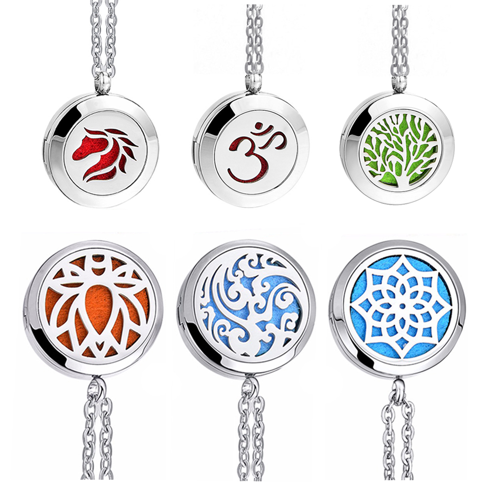 1pc 100% Real Stainless Steel Locket Necklace Dream Catcher Sunflower Pendant Aromatherapy Essential Oil Diffuser Necklace