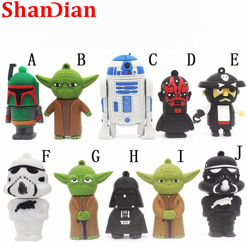 SHANDIAN hot sale cartoon flash memory card with usb 4GB 16GB 32GB 64GB Star Wars Robot all styles USB 2.0 Pen drive pendriver-in USB Flash Drives from Computer & Office