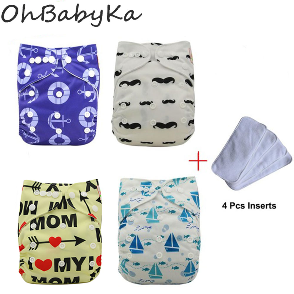 OhBabyKa Waterproof PUL Baby Suede Cloth Diaper Nappy Covers Reusable Baby Diapers Pack 4 Pocket Diapers +4 Microfiber Insert hangqiao baby 3 layers white burp cloths cloth diapers cotton diapers diapers diaper