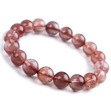 Newly Natural Red Hair Rutilated Quartz Round Beads Crystal Bracelet Women Men 11mm Clear Stone AAAAA Gift Jewelry
