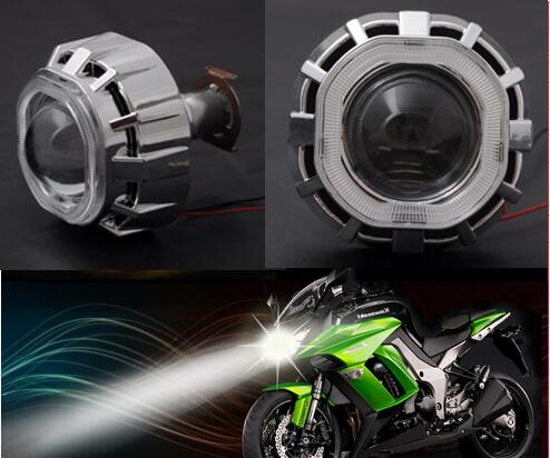 1pcs 2.5 Inch Bi xenon HID Projector <font><b>Lens</b></font> with <font><b>Square</b></font> Angle eyes Halo KIT Fit on H4 H7 Motorcycle <font><b>Headlight</b></font> image