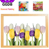 GGDB 5D DIY Diamond Embroidery Colorful Tulips Flower Resin Full Drill Square Stick Cross Stitch Kits