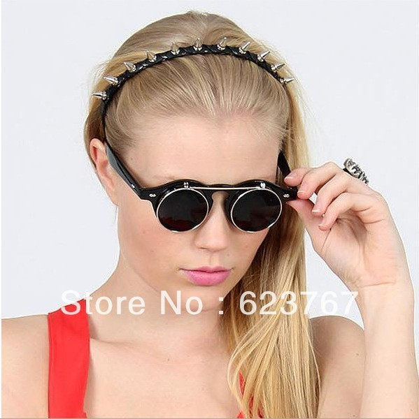 Free shipping vintage steam punk double flip retro round metal box for men and women sunglasses