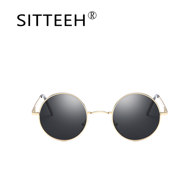 SITTEEH Sun glasses 2018 New metal round frame uv400 mirror vintage for men women Brand design